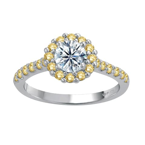 Sterling Silver with Moissanite and Yellow Sapphire Halo Ring