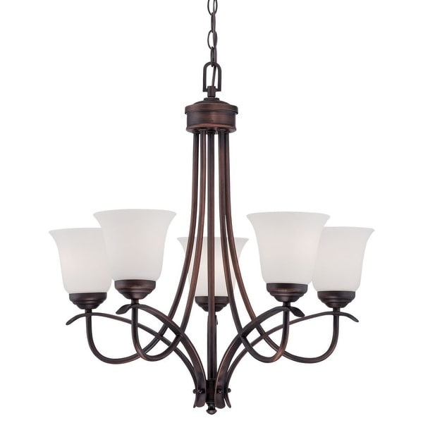 Millennium Lighting 3005 Kingsport 5 Light 1 Tier Shaded Chandelier - Rubbed bronze