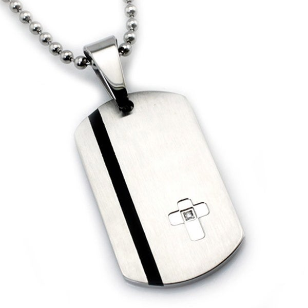 Stainless Steel Contemporary Dog Tag Cross w/ CZ Pendant - 24 inches