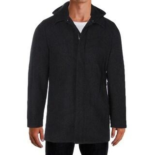 Perry Ellis NEW Solid Black Mens Size XL Full-Zip Snap Button Coat