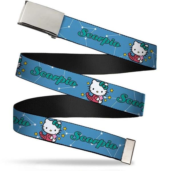 Blank Chrome Bo Buckle Hello Kitty Zodiac Scorpio Webbing Web Belt