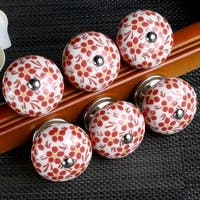 6 Pcs Ceramic Knobs Drawer Pull Cupboard Handles Door Vintage Chic Orange Flower - multi