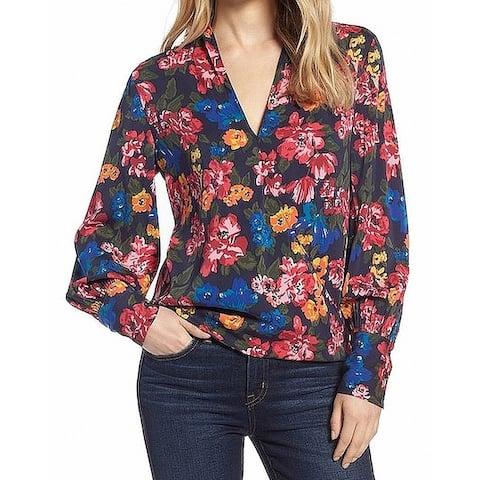 Halogen Womens Blouse Black Size Large L Floral Long Sleeve Wrap Silk