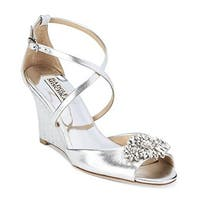 BADGLEY MISCHKA Womens Cabina Leather Open Toe Special Occasion Platform Sand...