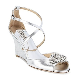 Badgley Mischka Women Cabina Embellished Crisscross-Strap Wedge, Silver