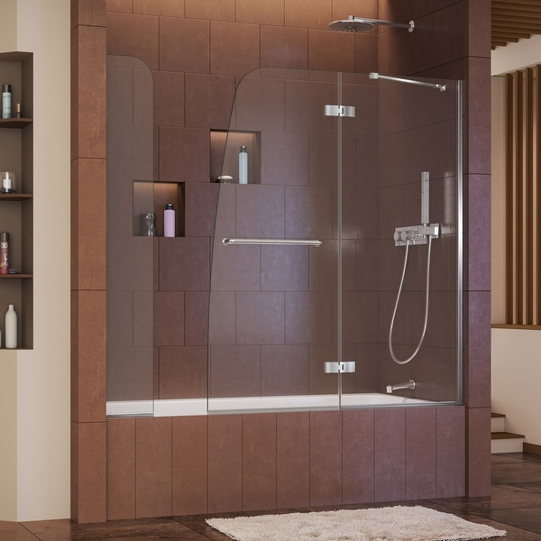 """DreamLine Aqua Ultra 57-60 in. W x 58 in. H Hinged Tub Door with Extender Panel - 57"""" - 60"""" W. Opens flyout."""