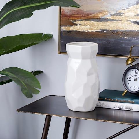 CosmoLiving by Cosmopolitan White Ceramic Modern Vase 16 x 8 x 8 - 6 x 6 x 12