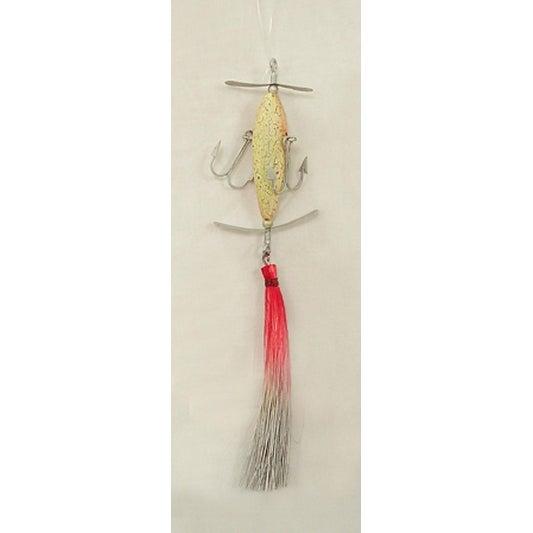 "Red And Gray Sisal Lure Fishing Christmas Ornament 6.5"""