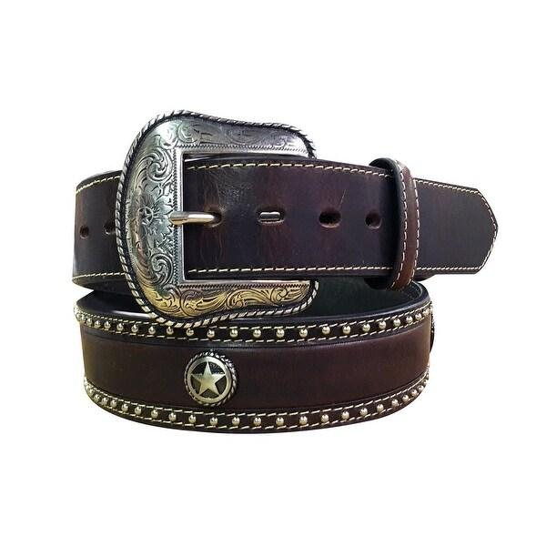 Roper Western Belt Mens Round Star Concho Brown