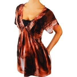 Funfash Plus Size Copper Black Lace New Womens Top Shirt Blouse