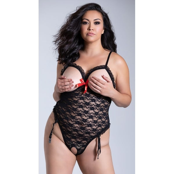 fc1feee97b0 Shop Plus Size Luv Lace Open Cup Teddy