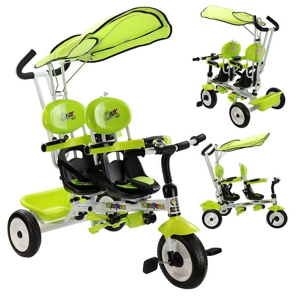 61e32dceed1 Costway 4 In 1 Twins Kids Baby Stroller Tricycle Safety Double Rotatable  Seat w/ Basket