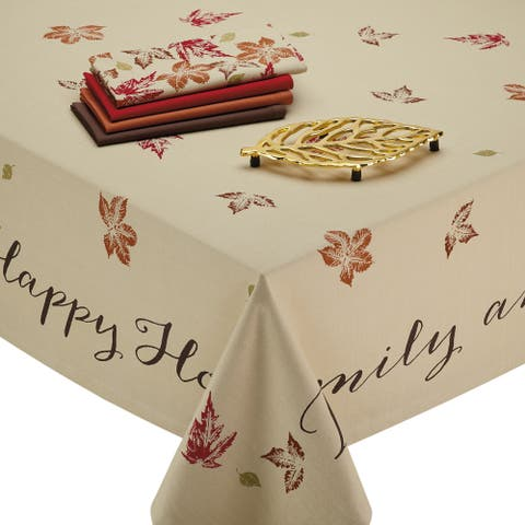 "Ivory Rustic Leaves Print Rectangular Tablecloth 60"" x 104"" - N/A"