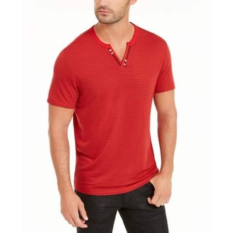INC Mens T-Shirt Red Size XL Split-Neck Striped Short-Sleeve Stretch Tee 144
