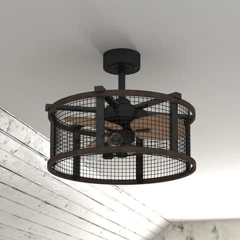 Carbon Loft Montrese Oil Rubbed Bronze/Teak 21-inch Ceiling Fan - 21-in W x 17-in H x 21-in D