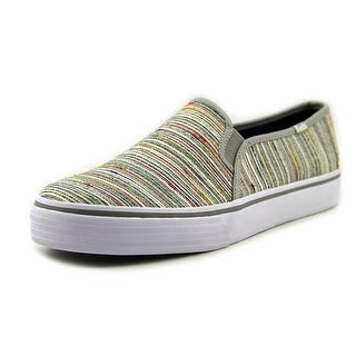 Keds Dbl Decker Quilted Charcoal Women Round Toe Canvas Gray Sneakers