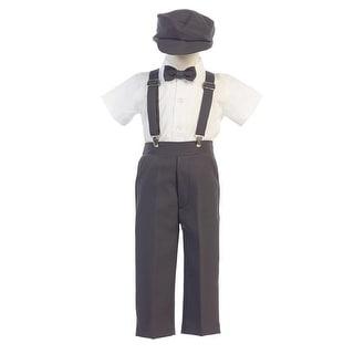 Little Boys Charcoal Suspender Pants Hat Outfit Set 2T-6