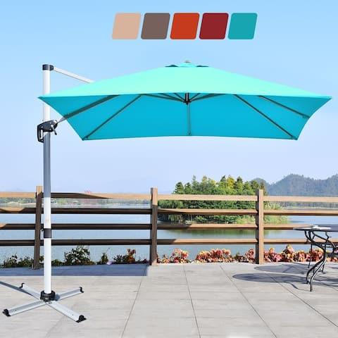 Costway 10Ft Square Patio Offset Cantilever Umbrella 360 Degree Tilt