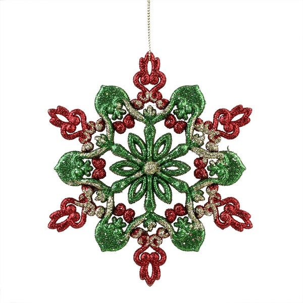 "6"" Red, Green and Gold Glitter Snowflake Christmas Ornament"