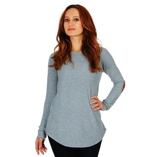 Simply Ravishing Brushed Knit Sweater Top w/ Elbow Patch (Size: S-5X)