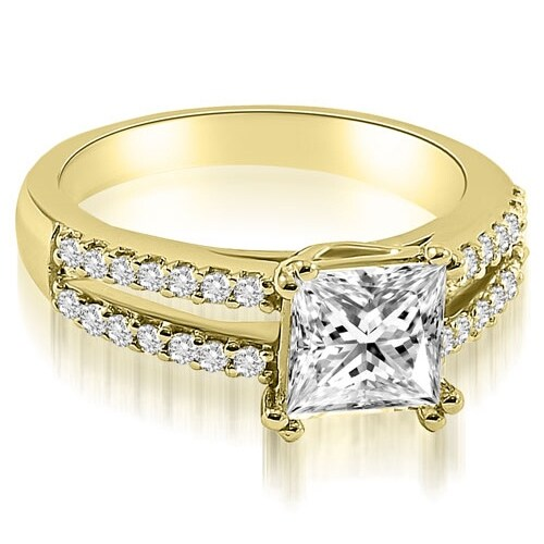 0.96 cttw. 14K Yellow Gold Princess Split Shank Diamond Engagement Ring