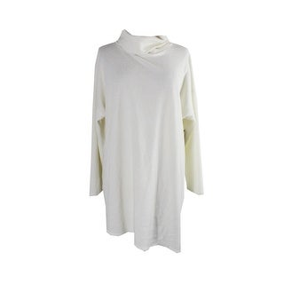 Rachel Rachel Roy Trendy Plus Size White Side Slit Turtleneck Sweater 1X