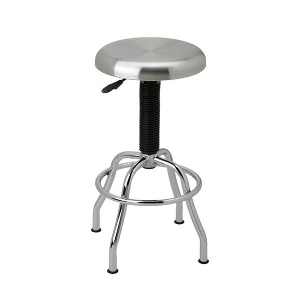 Seville Classics She18290b Adjustable Height Brushed Stainless Steel  Pneumatic Work Stool
