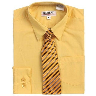 Yellow Button Up Dress Shirt Yellow Striped Tie Set Toddler Boys 2T-4T