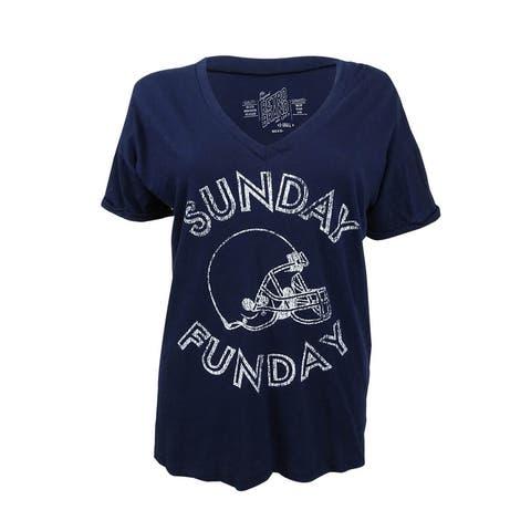 Retro Brand Women's Game Day 'Sunday Funday' Graphic T-Shirt (XS, Navy) - Navy - XS