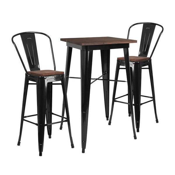 """Offex 23.5"""" Square Black Metal Bar Table Set with Wood Top and 2 Stools"""