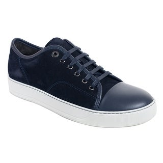 Lanvin Mens Navy Blue Suede Leather Cap Toe Lace Up DDB1 Sneakers
