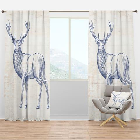 Designart 'Deer Wild and Beautiful XII' Farmhouse Blackout Curtain Panel