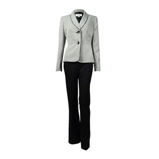 Le Suit Women's Houndstooth Shawl Lapel Two Button Pant Suit