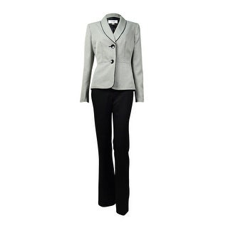 Le Suit Women's Houndstooth Shawl Lapel Two Button Pant Suit - Black/Ivory