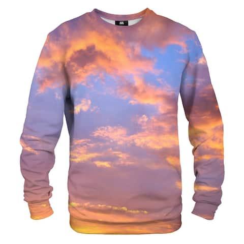 What on Earth Men's Sublimated Clouds & Sky Sweatshirt, Sunset Print C - Orange