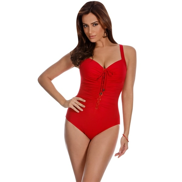 1d233e384ab Shop Miraclesuit Solid Red Rivage Lace Up One Piece Swimsuit - Free  Shipping Today - Overstock - 17662392