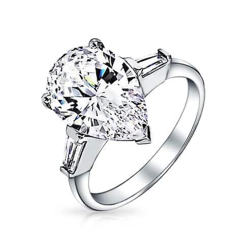 15754dc1d5b6de Classic Pear Shaped Cubic Zirconia Colorless Baguette Side Stones CZ 925  Sterling Silver Engagement Promise Ring