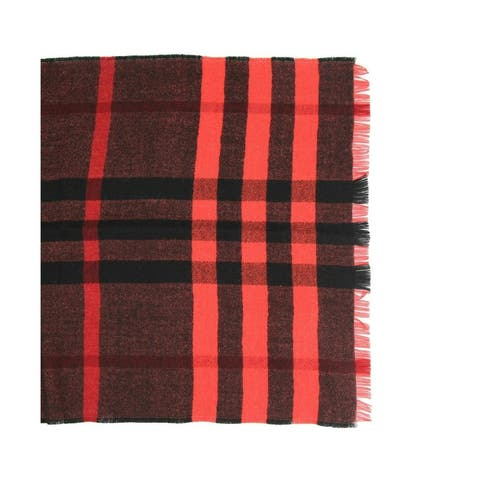Burberry Women's Military Red Reversible Color Check Wool Scarf 3968118 - One Size