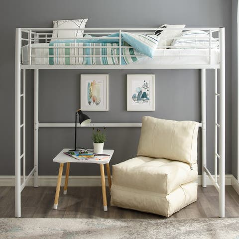 Taylor & Olive Abner White Metal Classic Twin Loft Bed