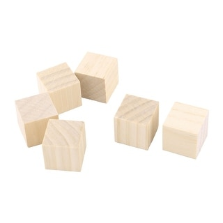 Wooden Art Crafts DIY Scrapbooking Embellishment Block Beige 25 x 25 x 25mm 5pcs