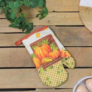 10.5 Burnt Orange Autumn Pumpkin and Harvest Vegetables Oven Mitt