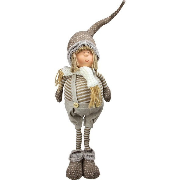 """26"""" Decorative Standing Nordic Boy in Overalls Table Top Christmas Figure"""