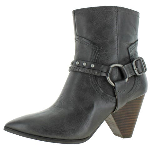 Lucky Brand Women's Majoko Leather Harness Stacked Block Heel Ankle Bootie - Storm Arena Leather