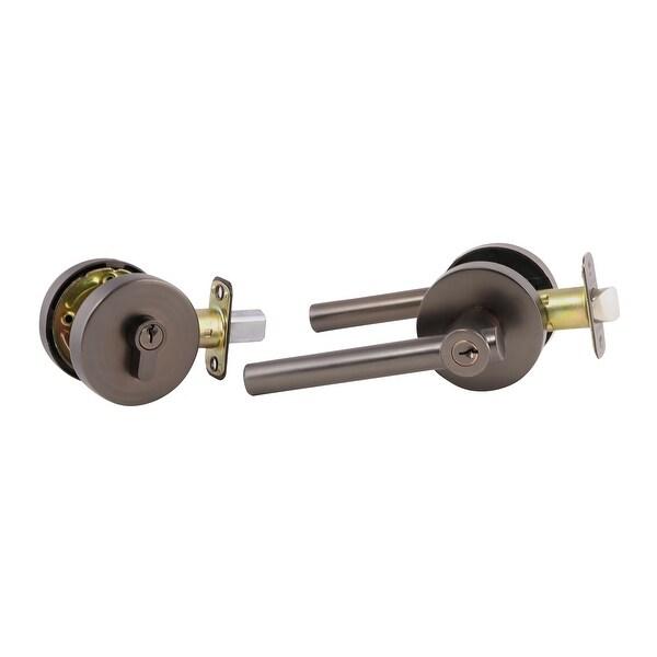 Design House 580936 Eastport Single Cylinder Keyed Entry Door Lever Set With Single Cylinder Deadbolt Combo Pack