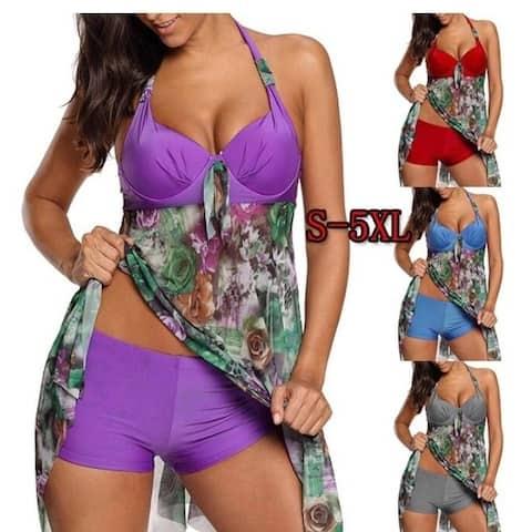 Women Tank Top With Boyshorts Bottoms Tankini Set Bathing Suits