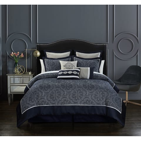 Chic Home Merielle 9 Piece Jacquard Design Solid Border Comforter Set, Navy