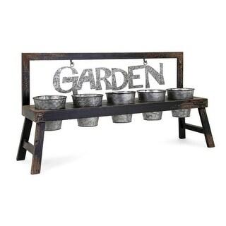 "32.75"" Distressed Fir with Galvanized Pots Decorative Indoor Garden Planter"