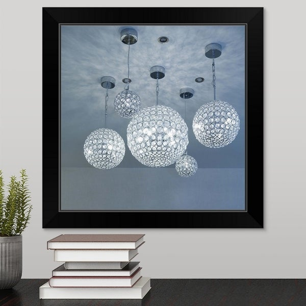 """Various crystal globe chandelier lighting fixtures"" Black Framed Print"