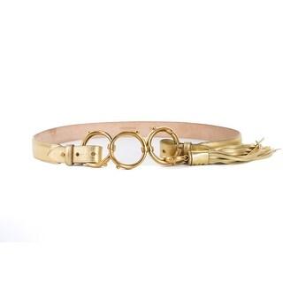 Roberto Cavalli Gold Laminated Tri Ring Buckle Leather Belt