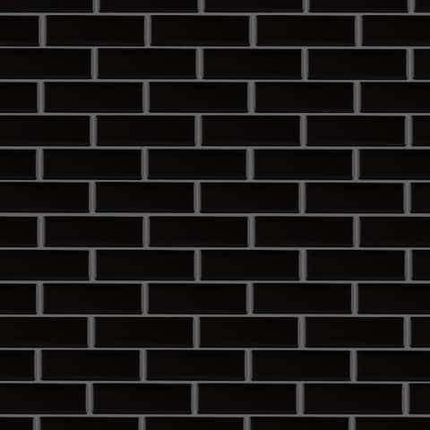 """SomerTile Metro Brick Subway Matte Black 11.5"""" x 11.75"""" Porcelain Mosaic Tile"""